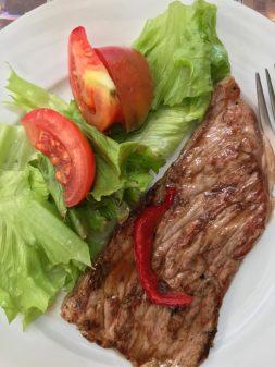 Steak dinner walking the Camino de Santiago: O Cebreiro to Triacastela with Camino Travel Center on eatlivetravelwrite.com