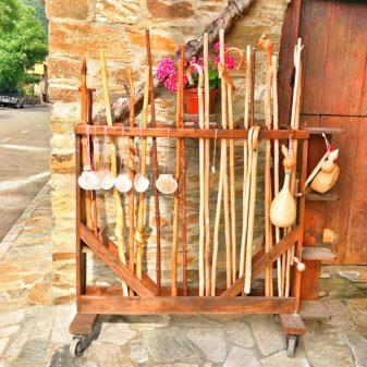 Pilgrim walking sticks walking the Camino de Santiago: Villafranca del Bierzo to :as Herrerías with Camino Travel Center on eatlivetravelwrite.com