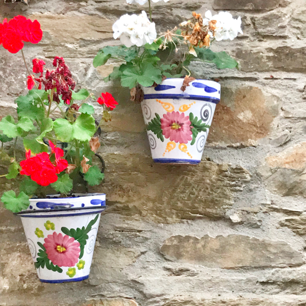 Pretty flower pots in Triacastela walking the Camino de Santiago: Triacastela to Sarría with Camino Travel Center on eatlivetravelwrite.com