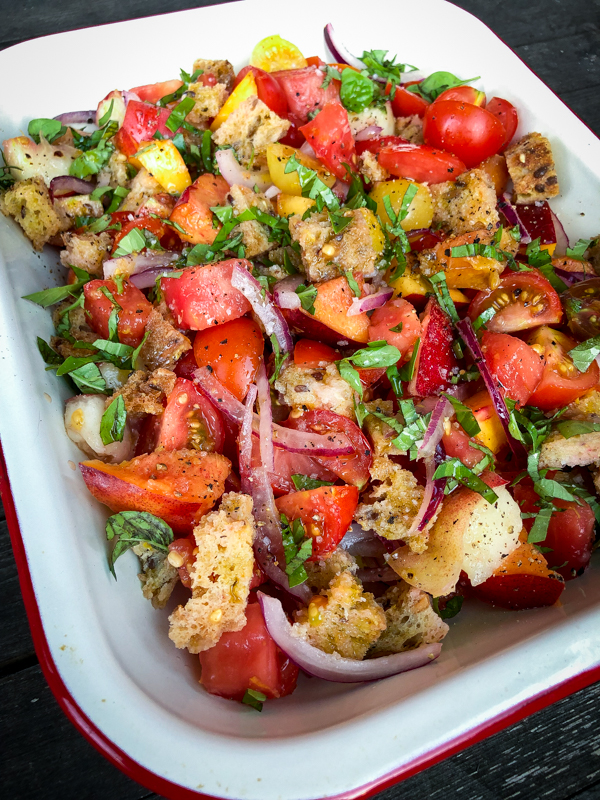ook the Book fridays Tomato and peach panzanella from Everyday Dorie on eatlivetravelwrite.com