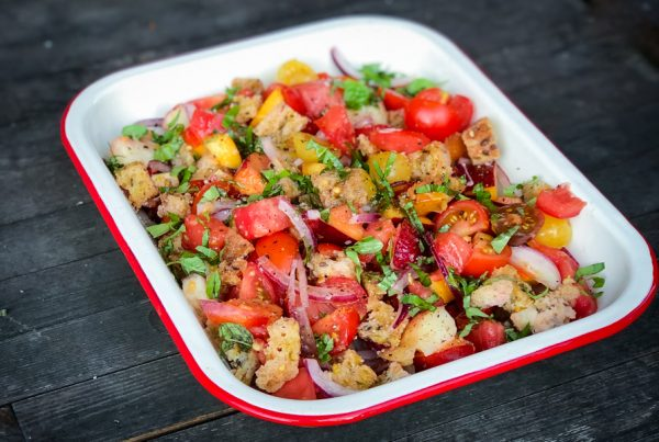 Dorie Greenspan Tomato and peach panzanella from Everyday Dorie on eatlivetravelwrite.com