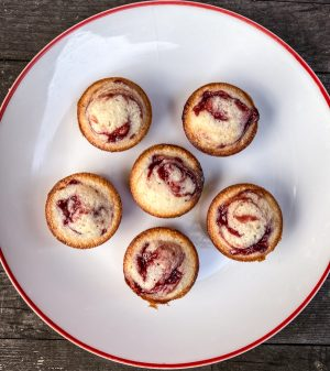 Easy Raspberry swirl financier recipe on eatlivetravelwrite.com