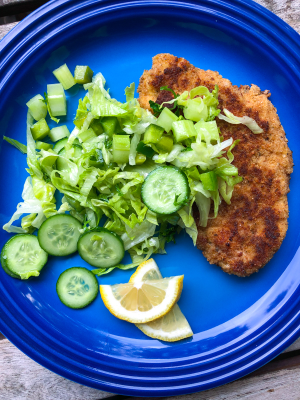 Dorie Greenspan Chicken and SAlad Milanese Style on eatlivetravelwrite.com