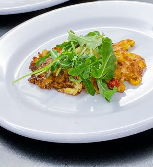 Cheesy Corn Cakes with Arugula with Afrim Pristine from Cheese Boutique on eatlivetravelwrite.com