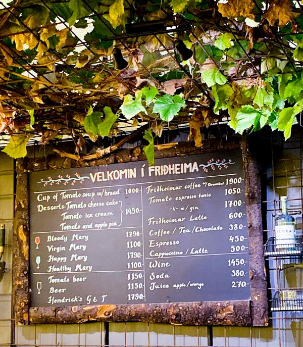 Menu at Fridheimar greenhouse visiting Iceland on eatlivetravelwrite.com