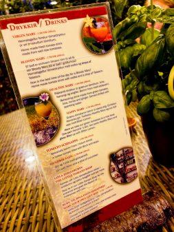 Drinks menu at Fridheimar greenhouse visiting Iceland on eatlivetravelwrite.com