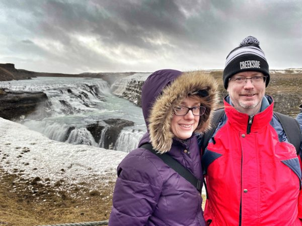 Selfie at Gullfoss falls visiting Iceland on eatlivetravelwrite.com
