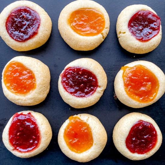 Thumbprint jam drop cookie recipe on eatlivetravelwrite.com