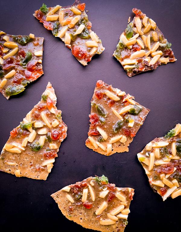 Pieces of Florentine Cookies on eatlivetravelwrite.com
