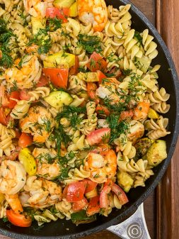 Pasta with Shrimp, Squash, Lemon and Lots of Herbs from Everyday Dorie on eatlivetravelwrite.com