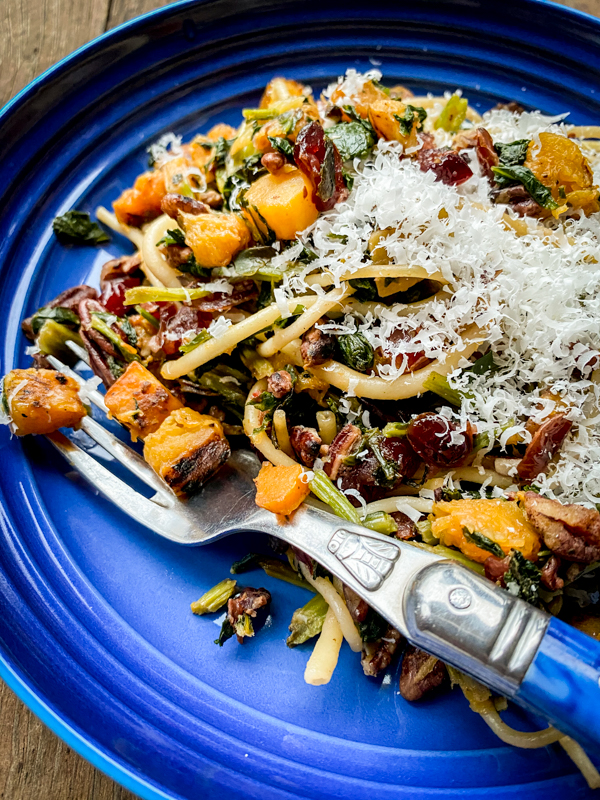 Close up of Pasta with Cabbage, Winter Squash and Walnuts from Everyday Dorie on eatlivetravelwrite.com