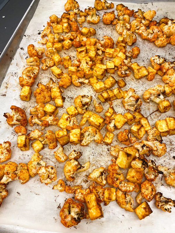 Roasted cauliflower and paneer to make Jamie Oliver's Cauliflower Tikka Masala on eatlivetravelwrite.com