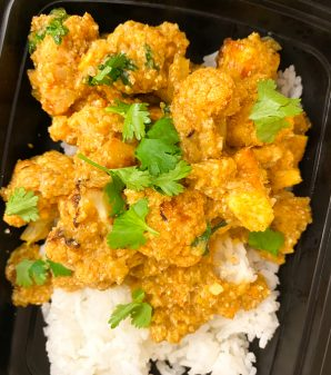 Kids serve of rice and Jamie Oliver's Cauliflower Tikka Masala on eatlivetravelwrite.com