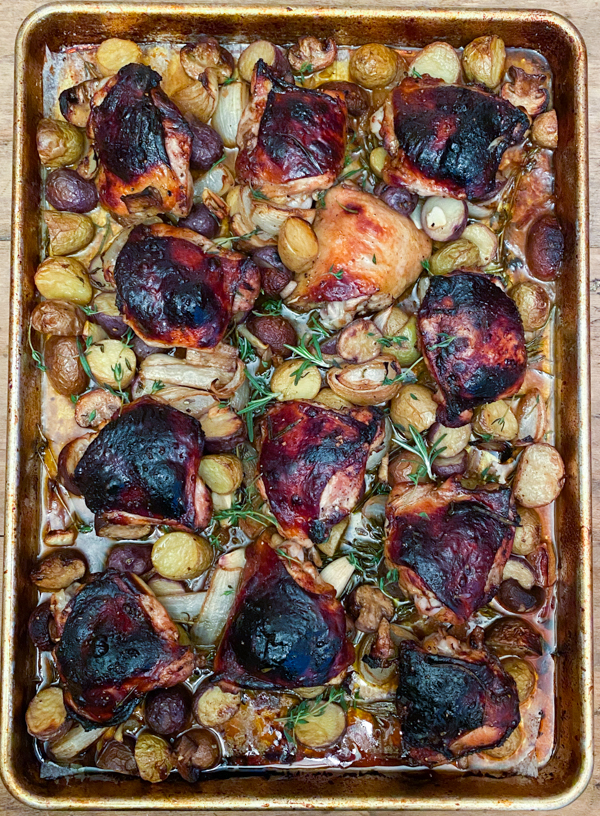 Dorie Greenspan sheet pan supper-balsamic chicken with potatoes from Everyday Dorie on eatlivetravelwrite.com