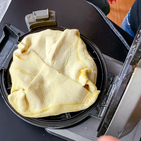 Puff pastry all wrapped up to make Apple Pie Waffles from Brunch Life with Matt Basile on eatlivetravelwrite.com