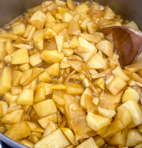 Filling ready for Apple Pie Waffles from Brunch Life with Matt Basile on eatlivetravelwrite.com