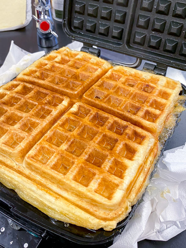 Fresh out of the waffle maker - Apple Pie Waffles from Brunch Life with Matt Basile on eatlivetravelwrite.com