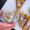Kids reaching for Apple Pie Waffles from Brunch Life with Matt Basile on eatlivetravelwrite.com