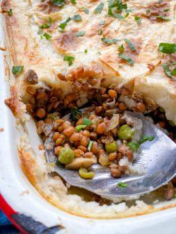 Recipe for vegetarian Shepherd's Pie on eatlivetravelwrite.com