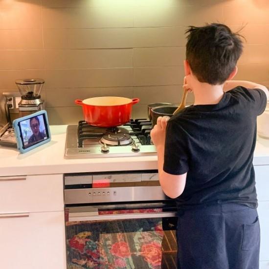 Kids cooking in virtual cooking club on eatlivetravelwrite.com
