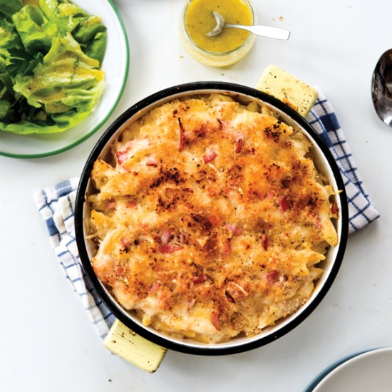 Cheesy Pasta Bake with Ham from In the French kitchen with kids on eatlivetravelwrite.com