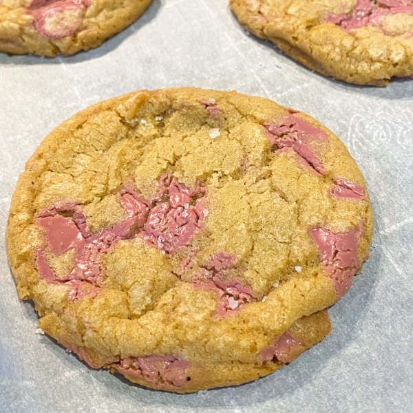 Close up of a Ruby chocolate chip cookie
