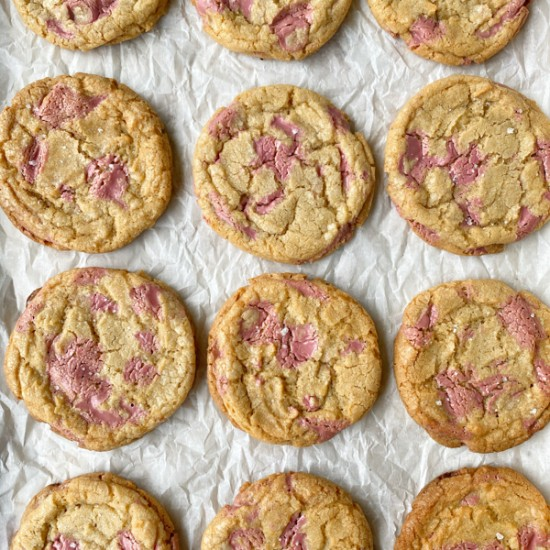 Tray of Ruby chocolate chip cookies