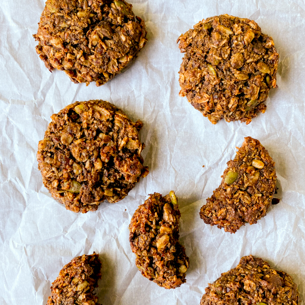 Chocolate coconut breakfast cookies on a tray