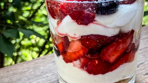 Individual serves of No-Bake Mixed Berry Cheesecake Trifle served in a small glass dish