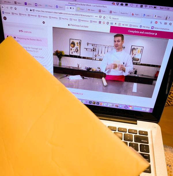 Prepping pastry during La Cuisine Paris online class