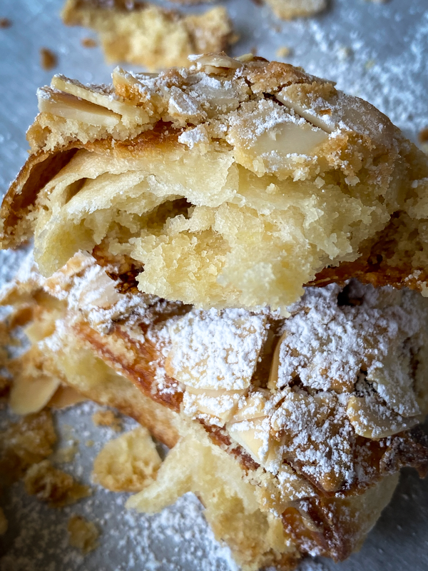 Inside of an almond croissant