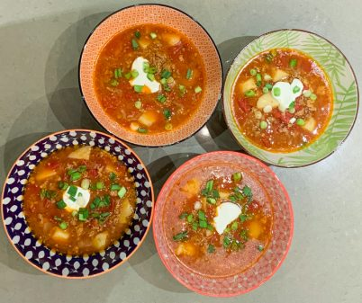 Goulash soup served in beautiful bowls