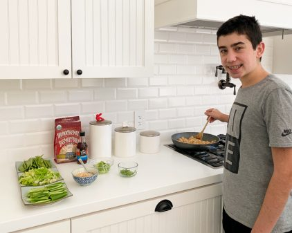 Kids showing excellent mise en place in cooking class