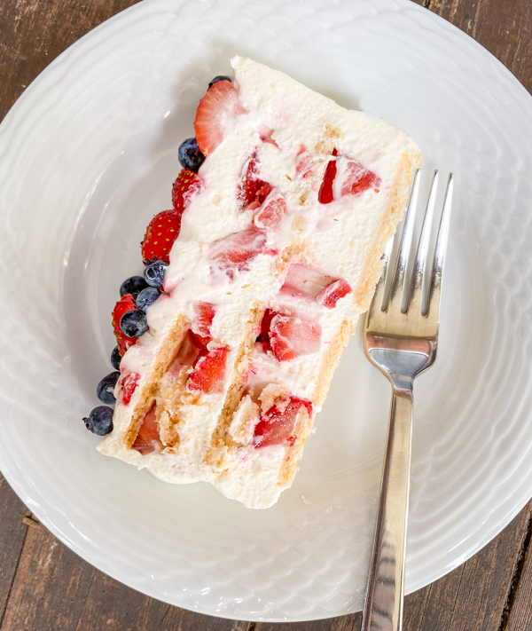 Slice of No-Bake Strawberry Cheesecake Icebox Cake