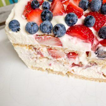 Clean cut view of No-Bake Strawberry Cheesecake Icebox Cake
