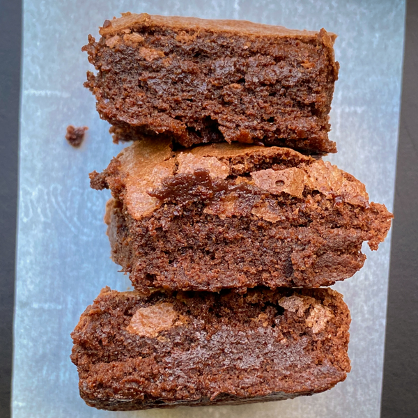 Dorie Greenspan Classic Brownies on parchment paper