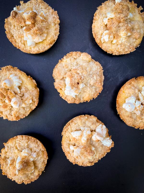 Flat lay of Dorie Greenspan's Popcorn Streusel Tops from Dorie's Cookies