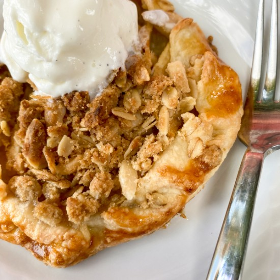 Close up of mini apple crumble galette