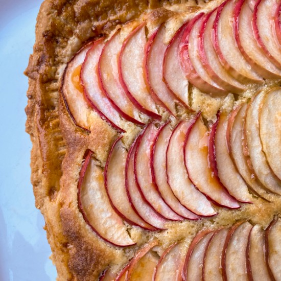Closeup of Easy puff pastry apple galette
