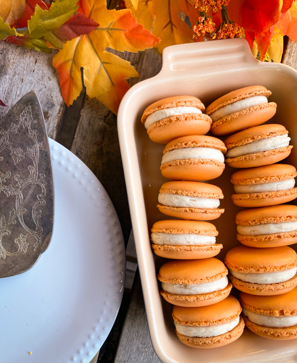 Dorie Greenspan's Parisian Macarons in a dish next to a pie plate