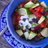 Dorie Greenspan Bean and tortilla soup in a blue bowl