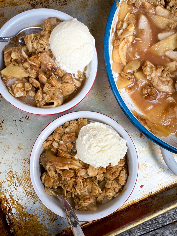 Salted Caramel Apple Crumble plated and served with ice cream
