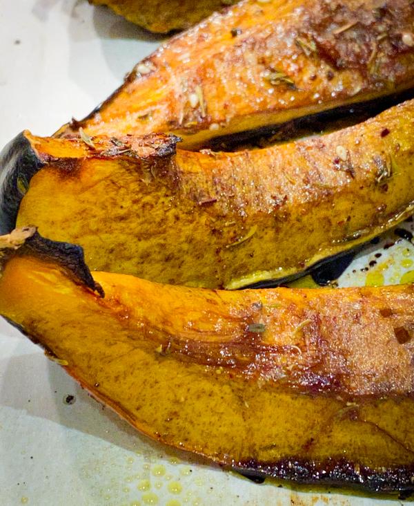 Acorn Squash, roasted on a baking tray