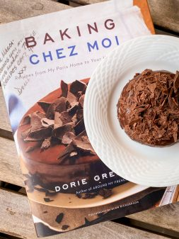 Carrement Chocolat cake on a copy of Dorie Greenspan's Baking Chez Moi