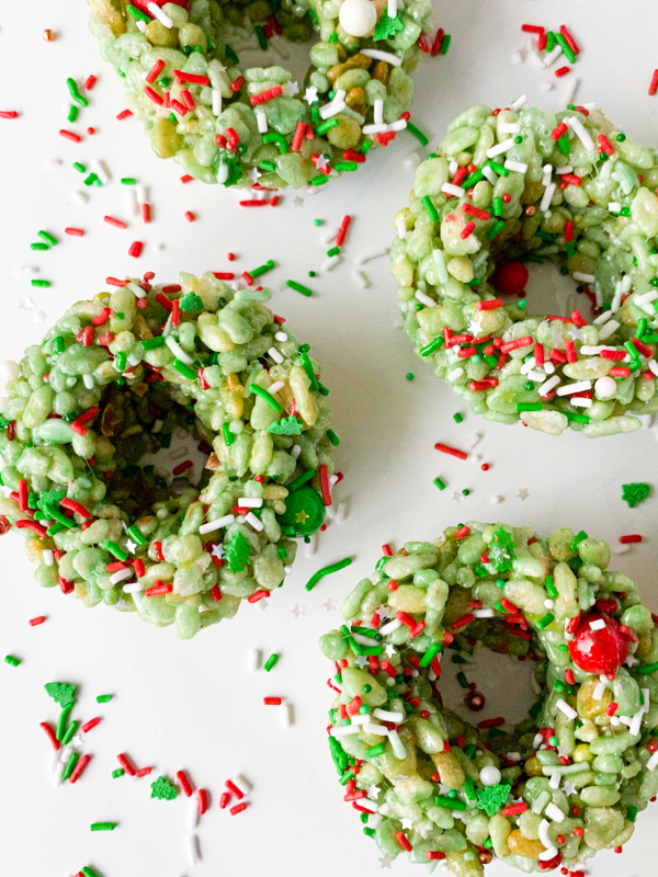Rice Kirspie Wreaths on a white plate