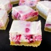 Cross section of Cranberry Swirl Cheesecake Bars
