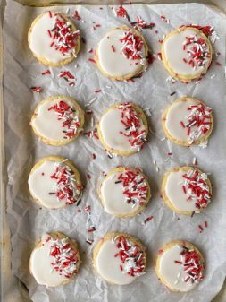 Tray of candy cane sugar cookies