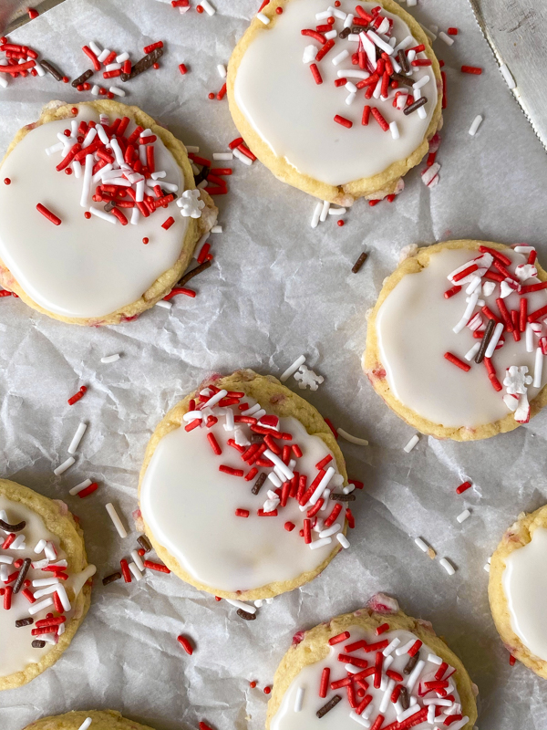 Iced candy cane sugar cookies