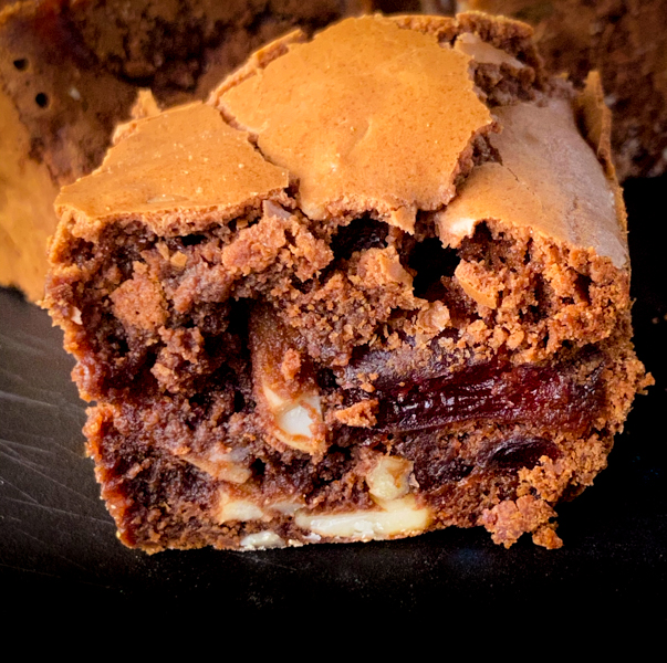 Close up of Chocolate Cherry and Almond Brownies