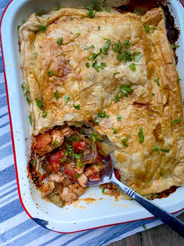Interior of Mediterranean Chicken Pot Pie